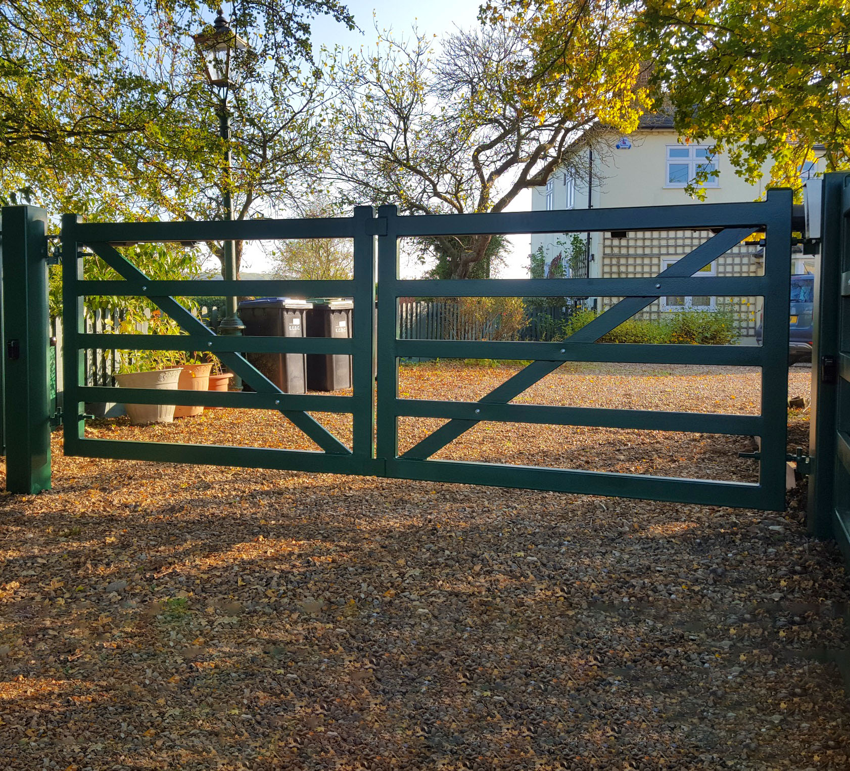 Steel Five Bar Double Leaf Automatic Gates Great Bradley, Suffolk
